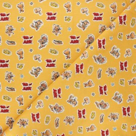 Cotton Camelot fabrics - honey yellow Tom and Jerry Foes forever Jerry x 10cm