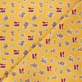 Tissu coton Camelot Fabrics Tom and Jerry Foes forever Jerry - jaune miel x 10cm