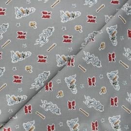 Tissu coton Camelot Fabrics Tom and Jerry Foes forever Tom - gris x 10cm