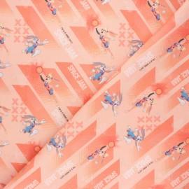 Tissu coton cretonne Lola & Bugs Bunny - corail x 10cm