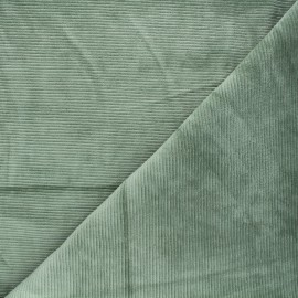Ribbed velvet jersey fabric - rosemary green Mellow x 10cm