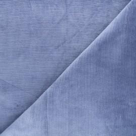 Tissu jersey velours côtelé Mellow - bleuet x 10cm