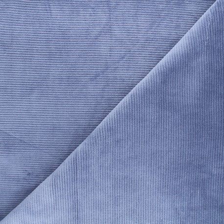 Ribbed velvet jersey fabric - bleuet Mellow x 10cm