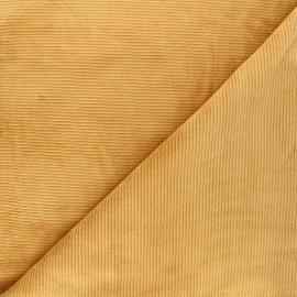 Tissu jersey velours côtelé Mellow - jaune moutarde x 10cm