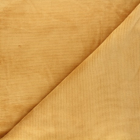 Ribbed velvet jersey fabric - mustard yellow Mellow x 10cm