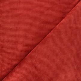 Ribbed velvet jersey fabric - brick red Mellow x 10cm