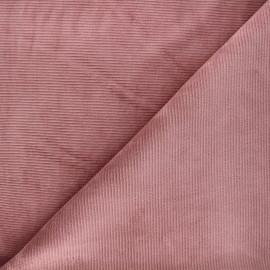 Tissu jersey velours côtelé Mellow - vieux rose x 10cm
