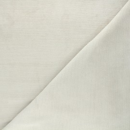 Tissu jersey velours côtelé Mellow - grège x 10cm