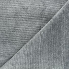 Tissu jersey velours côtelé Mellow - gris chiné x 10cm