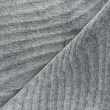 Ribbed velvet jersey fabric - mottled grey Mellow x 10cm