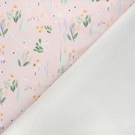 Softshell fabric - light pink Detective flowers x 10cm