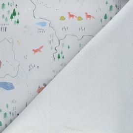 Softshell fabric - light grey Misty mountains x 10cm