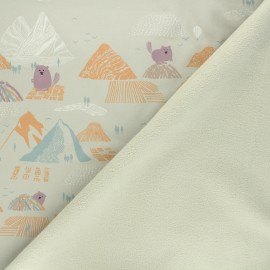 Softshell fabric - sand Beaver and mountains x 10cm