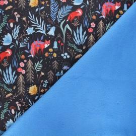 Softshell fabric - black Dark forest x 10cm