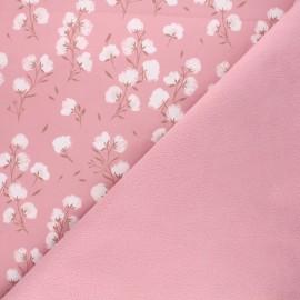 Softshell fabric - rosewood Cotton flower x 10cm