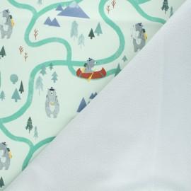 Softshell fabric - light green Adventure seeker x 10cm