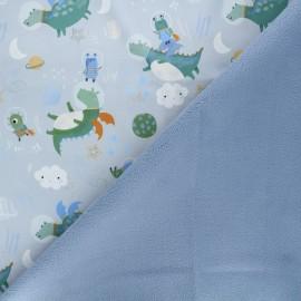 Softshell fabric - light blue Astro pals x 10cm