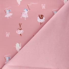 Softshell fabric - pink Ballerinas main x 10cm