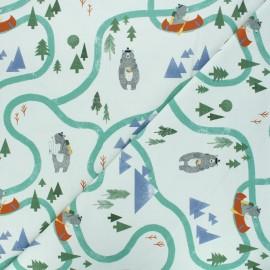 Tissu jersey Adventure seekers - vert clair x 10 cm