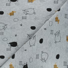 Tissu sweat The black sheep - gris chiné x 10 cm