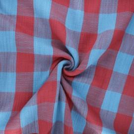Tissu double gaze Vichy - bleu/rouge brique x 10cm