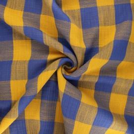 Tissu double gaze Vichy - bleu roi/jaune moutarde x 10cm