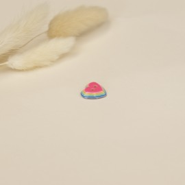 15 mm polyester button - pink Rainbow love