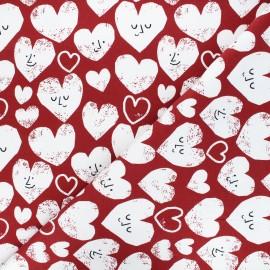 Printed sweatshirt fabric - red brick Hearts coord x 10cm
