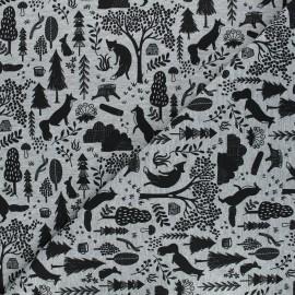 Printed sweatshirt fabric - mottled grey Melange forest x 10cm
