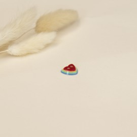 13 mm polyester button - red Rainbow love