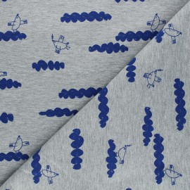 Printed sweatshirt fabric - mottled grey Peace maker x 10cm