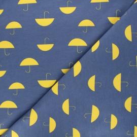 Printed sweatshirt fabric - blue Umbrella x 10cm