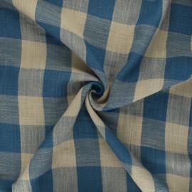 Tissu double gaze Vichy - bleu/taupe x 10cm