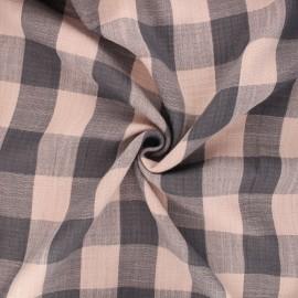 Tissu double gaze Vichy - rose clair/gris x 10cm