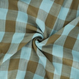 Tissu double gaze Vichy - bleu clair/kaki x 10cm