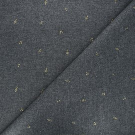 Scratched cotton fabric - dark grey Music notes x 10cm