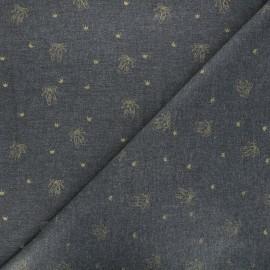 Scratched cotton fabric - dark grey Ballerinas x 10cm