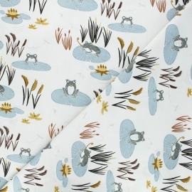 Tissu coton Pond life - Here little froggy - blanc cassé/bleu fumé x 10cm