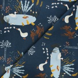 Tissu coton Pond life - Ducks - bleu nuit x 10cm