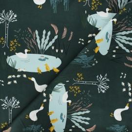 Tissu coton Pond life - Ducks - vert sapin x 10cm