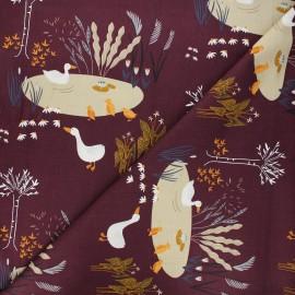 Tissu coton Pond life - Ducks - bordeaux x 10cm
