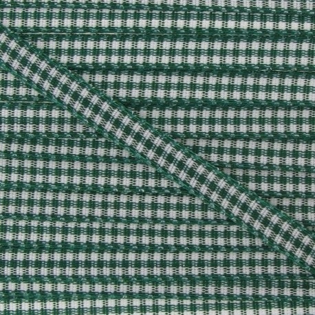 Little Gingham Ribbon 5mm - Green tree