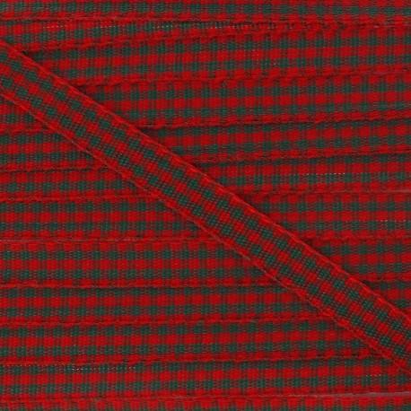 Little Gingham Ribbon 5mm - Green/Red