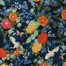 Tissu coton Makower UK Michiko large floral - bleu nuit x 10cm