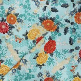 Tissu coton Makower UK Michiko large floral - bleu clair x 10cm