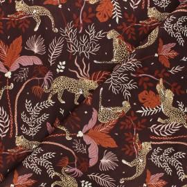 Magic of Serengeti cotton fabric - mahogany brown Leopard x 10 cm