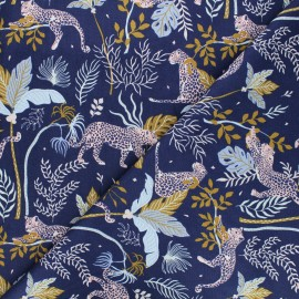 Tissu coton Magic of Serengeti - Leopard - bleu marine x 10cm