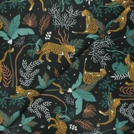 Magic of Serengeti cotton fabric - pine green Leopard x 10 cm