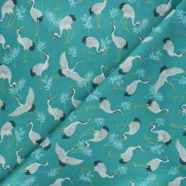 Tissu coton Makower UK Michiko cranes - bleu lagon x 10cm