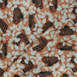 Magic of Serengeti cotton fabric - cinnamon Happy zebra x 10 cm